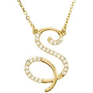 R Alphabet In Diamond 14k Yellow Gold Alphabet Initial Letter S Diamond Necklace, 17