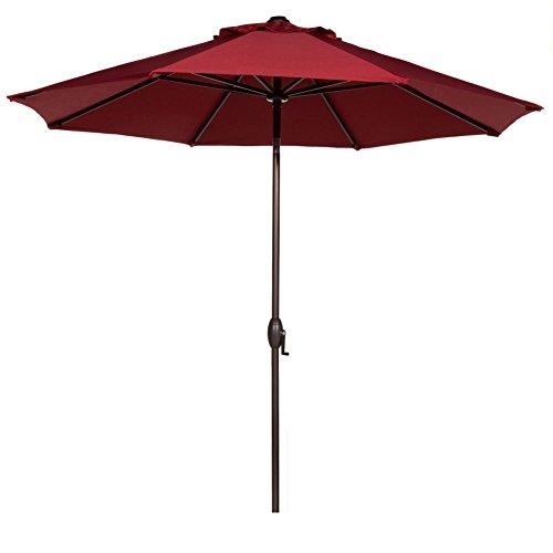 Abba Patio 9 Ft Outdoor Market Aluminum Umbrella with Auto Tilt and Crank, 8 Ribs, 100% Polyester, Red AP9388CTAR