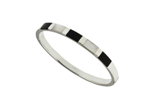 Silver Onyx & Mother-of-Pearl Bangle