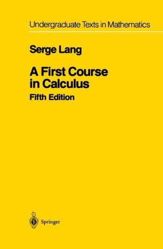 A first course in calculus, Fifth Edition