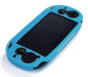 Cosmos ® Light Blue Color Silicone Bumper Protection Case Cover For Playstation Ps Vita & Cosmos Brand Lcd Touch Screen Cleaning Cloth