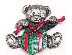 Teddy Bear w/Present Pewter Pin JJ Jonette