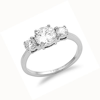 Ladies Stainless Steel Round Cut CZ Engagement Ring Size 5