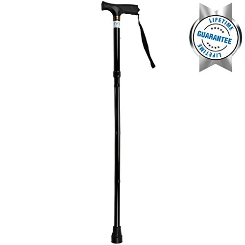 Folding Cane by VIVE – Best Adjustable Lightweight Walking Stick for Men and Women – LIFETIME GUARANTEE (Black)