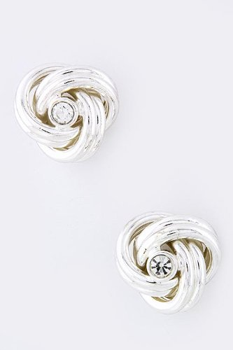 Baubles & Co Crystal Knot Earrings (Silver) front-197450