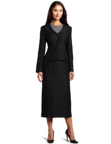 Lesuit Women's Accordion Jacket Skirt Suit