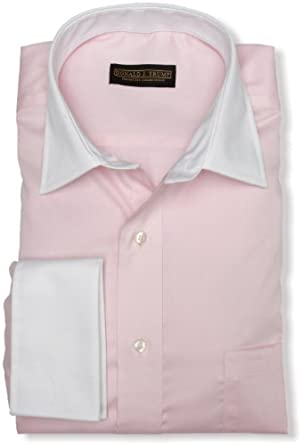 Trump Men's Spread Collar Twill Solid Woven Shirt,Pale Pink,15 34/35