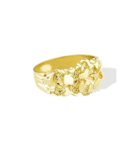 New Polished Solid 14k Yellow Gold Men's Nugget Ring