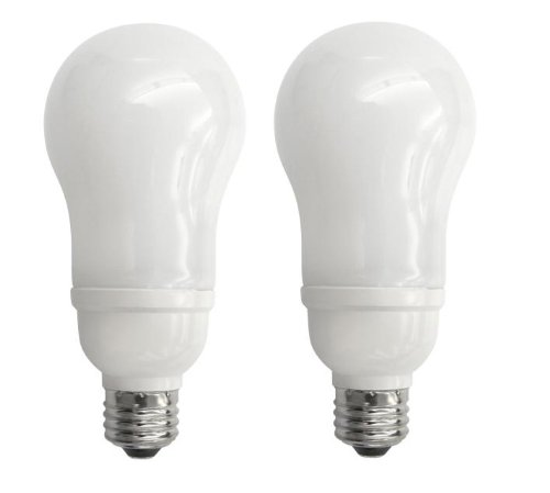 TCP 694142 14W A19 Medium Base Compact Fluorescent Bulb, Soft White, 2-Pack