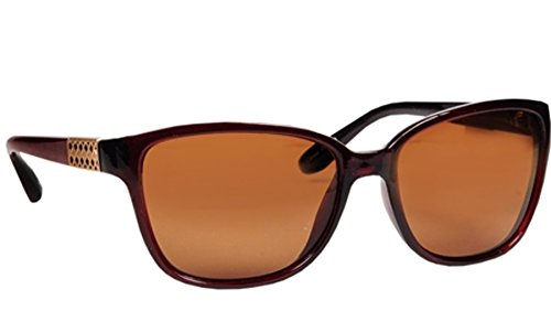Epilogue Polarized Wayfarer Sunglasses for women Burgundy Frames Brown Lens Jeweled