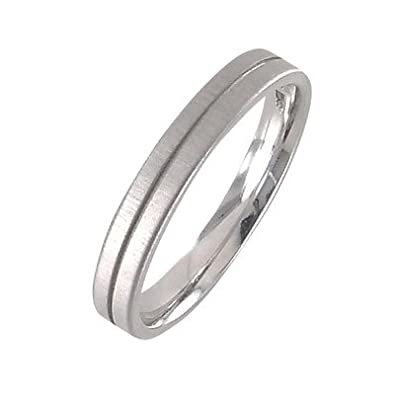 White Gold 14 K 585 Gents Wedding Ring W69
