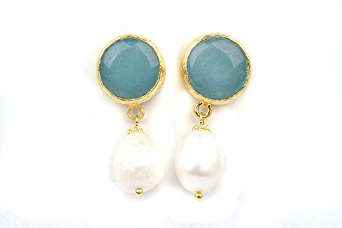 Bijuland Larimar Stone with Pearls Dangle Stud Setting 24K Gold Plated Brass Earrings
