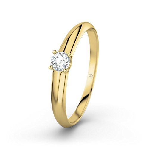 21DIAMONDS Ulrike 0.26 Ct Brilliant Cut Diamond Engagement Ring, 9ct Yellow Gold Women's Ring Engagement Rings
