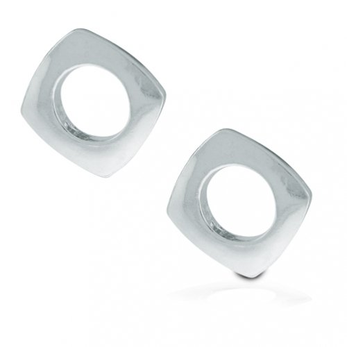 Bling Jewelry Mens Cushion Square Stud Earrings 925 Sterling Silver