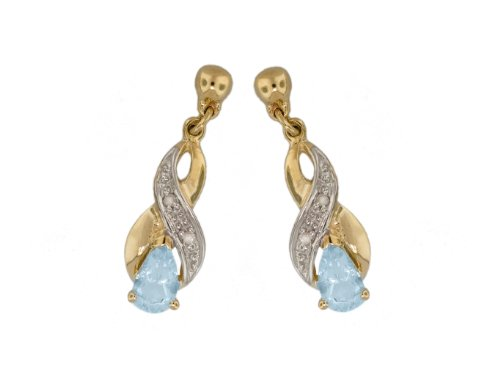 9ct Yellow Gold 0.02ct Diamond and Aquamarine Crossover Drop Earrings