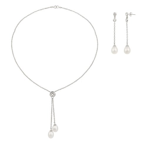 Sterling Silver Simulated Pearl on Chain Drop Earrings and Double Drop Necklace, 18