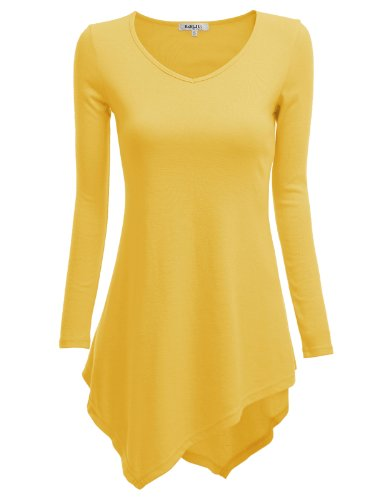Doublju Knit Tunics With Unbalanced Hem Yellow (Us-Xl)