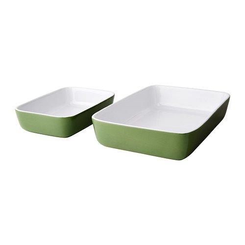 LYCKAD forno, Piatto da portata, confezione da 2, colore: verde, misure: 31 x 21 e 23 x 15 cm, adatto al microonde, forno tè. tè. Lavabili in lavastoviglie, sicuri.