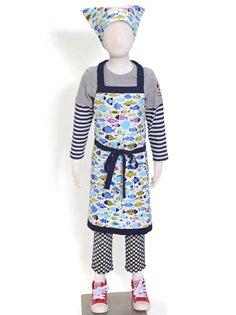 三角巾付き 子ども エプロン身長130-160cmサイズ 【すいすい泳ぐよおさかなマーチ】 日本製 N1230130