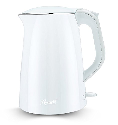 Rosewill Double Layer Insulated Stainless Steel Pot Double Wall Tea Water Kettle Cool Touch Exterior, 1.5 L, White ( RHKT-15001)