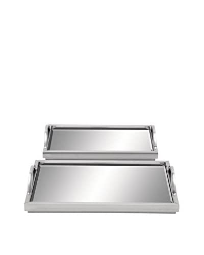 Set of 2 Stainless Steel Mirror Trays