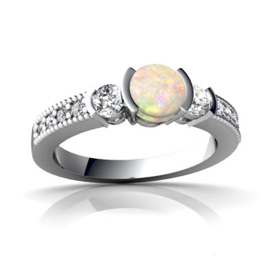 14K White Gold Genuine Opal Round Engagement Ring