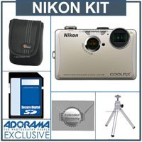 Nikon Coolpix S1100pj Digital Camera Kit - Silver - with 4GB SD Memory Card, Camera Case, Table Top Tripod, 2 Year Extended Service Coverage