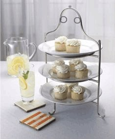 Amazon Com 3 Tier Stainless Steel High Tea Serving Plate