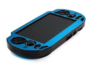Cosmos ® Light Blue Aluminum Metallic Protection Hard Case Cover For Playstation Ps Vita & Cosmos Brand Lcd Touch Screen Cleaning Cloth
