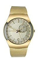 Skagen Silver Dial Gold Tone Stainless Steel Mens Watch 983XLGG