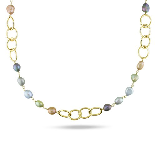 Multicolored FW Pearl Oval Link Necklace (7 -10 mm)