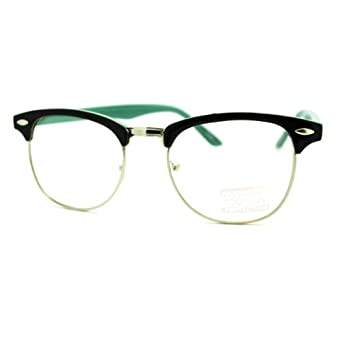 Amazon.com: Round Horn Rim Clear Lens Glasses Black+Cool