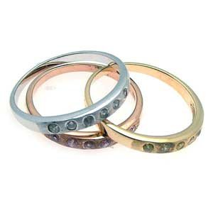 Tri-Color Gold Over Sterling Silver Cubic Zirconia 3-Piece Stackable Wedding / Anniversary Band / Ring