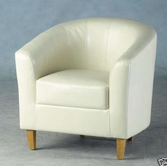 LUXURY FAUX LEATHER TUB CHAIR IN CREAM FROM CENTURION PINE