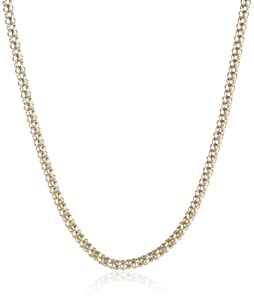 18k Yellow Gold Plated Sterling Silver Popcorn Chain Necklace, 24