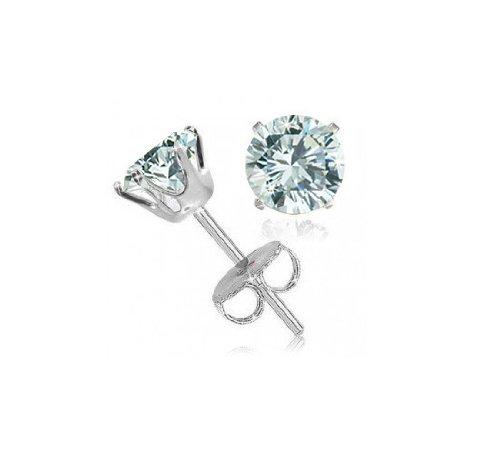 Sterling Silver 2 Carat Blue Topaz Studs Earrings