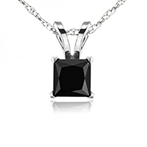 1.00 Carat (ctw) 10k White Gold Princess Cut Black Diamond Ladies Solitaire Pendant 1 CT