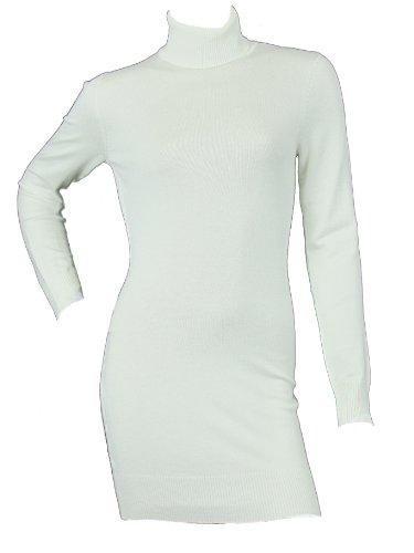 Pullover da donna, collo lungo, in maglia, Maglione con collo a Polo, modello Love Lola a maglia Fine crema Large