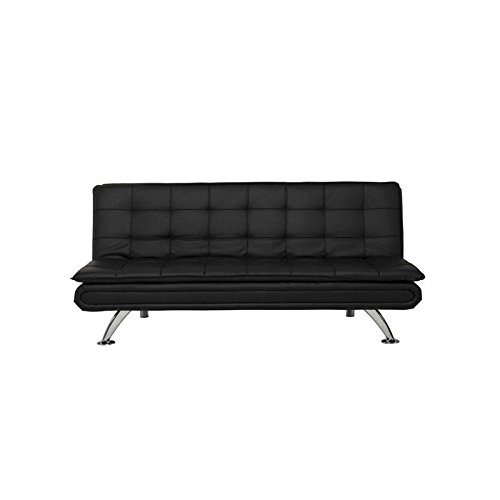 Ameriwood Broadway Leather Convertible Sofa in Black