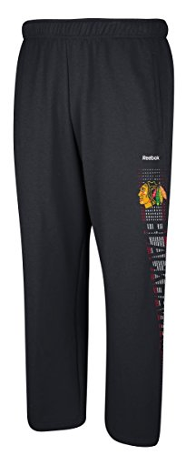 Men's Reebok NHL Chicago Blackhawks Swipe Tech Fleece Sweatpants Black Size XX-Large (Reebok Hockey Pants compare prices)