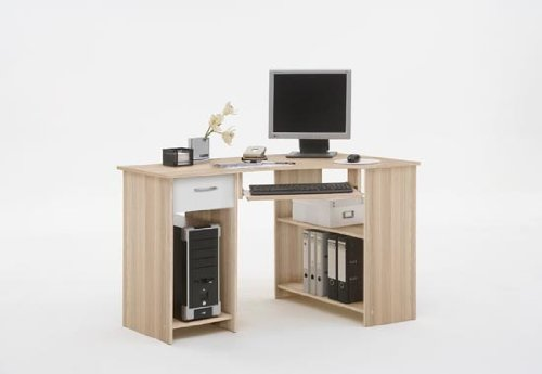 SHARPE Ashtree with White Colour Wood Corner Computer / PC Work Station Table Desk with Drawer, File Storage and Keyboard Shelf by DMF (FLX)