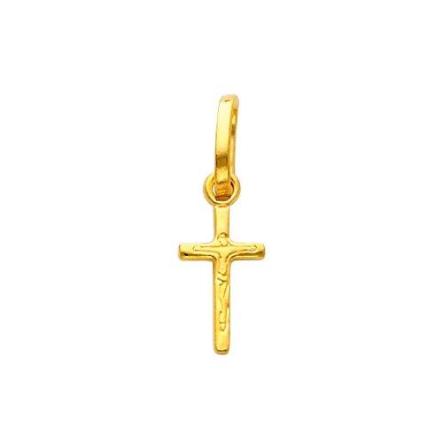 14K Yellow Gold Tiny Religious Crucifix Cross Charm Pendant