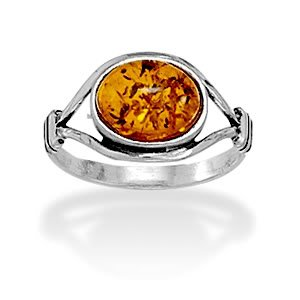 Sterling Silver Oxidized Amber Ring / Size 7