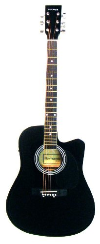Full Size Black Acoustic Electric Guitar Cutaway With 3 Eq, & Directlycheap(Tm) Translucent Blue Medium Guitar Pick