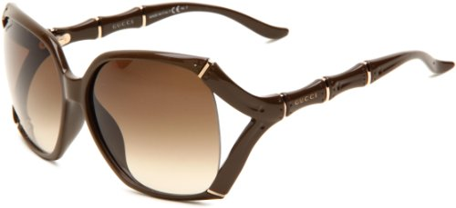 Gucci Women's 3508/S Rectangle Sunglasses,Khaki Frame/Brown Grey Grad Lens,One Size