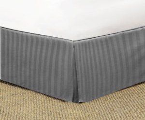 "650 Tc Egyptian Cotton 1X Bed Skirt For Rv'S, Campers, Bunk & Travel Trailers 25"" Drop Rv Bunk (34X75"") Lt. Grey Stripe back-1087926"