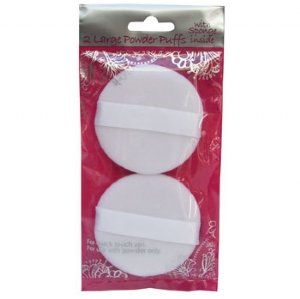 Swissco Large Powder Puff White With Sponge Inside 2-Count