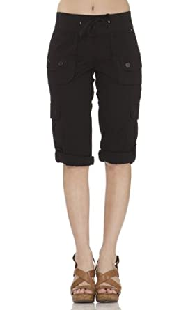 (25205R) Classic Designs Stretch Poplin Cargo Relaxed Look Capris in Black Size: S