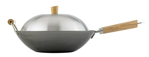 Helen Chen's Asian Kitchen 14-inch Carbon Steel Flat Bottom Lidded Wok Set