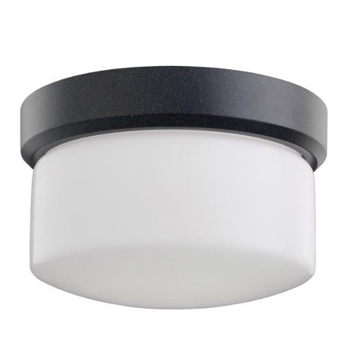 Kichler Lighting 7002GNT Lantana 1-Light Outdoor Flush Mount Ceiling Light, Granite with Etched Opal Glass